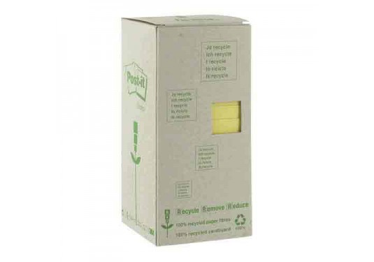 Post-it 100% recyclé jaune 76x76mm Tour 16 blocs de feuilles Boîte distributrice POST-IT
