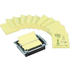 Z-Notes Post-it recyclées jaunes 76mmx76mm 12 blocs et dévidoir offert POST-IT