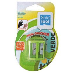 Taille-crayon spécial gaucher vert recyclable SAFETOOL