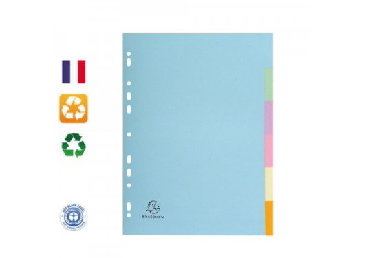 Intercalaires 6 positions A4 carte Forever couleurs pastels EXACOMPTA