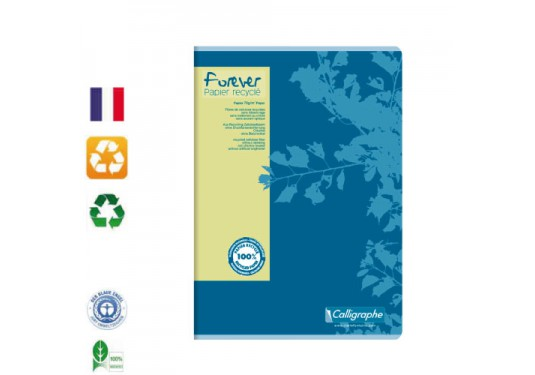 Cahier piqué recyclé A4 5x5 96p 70g Forever CLAIREFONTAINE