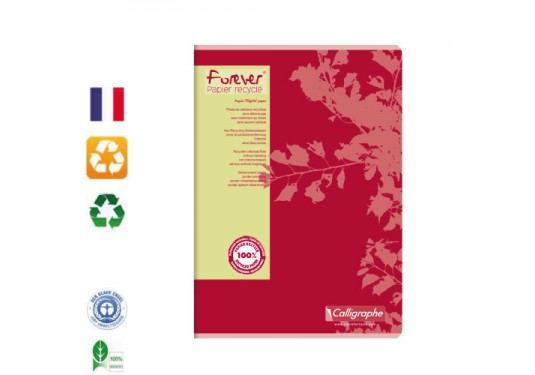 Cahier A4 recyclé piqué seyes 96p Forever CLAIREFONTAINE