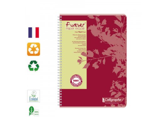 Cahier A4 recyclé spirales 5x5 100p Forever CLAIREFONTAINE