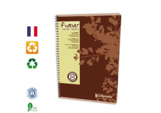 Cahier spirales recyclé A4 5x5 180p 70g Forever CLAIREFONTAINE
