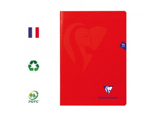 Cahier polypro piqué A4 seyes 96p 90g Rouge MIMESYS