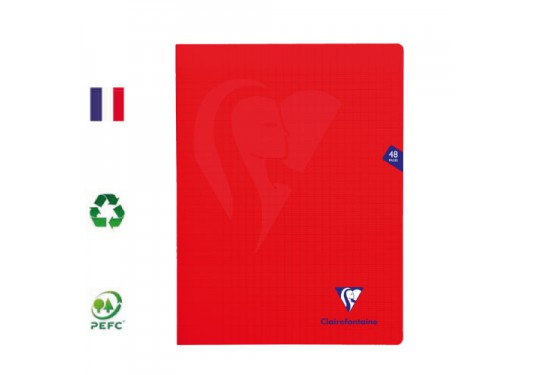 Cahier polypro piqué A4+ seyes 48p 90g Mimesys CLAIREFONTAINE rouge