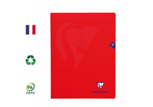Cahier polypro piqué 24x32 seyes 96p Rouge MIMESYS