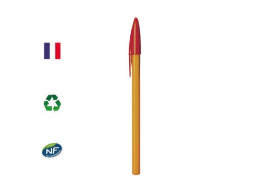 Stylo bille orange Cristal Fine rouge BIC