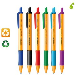 Lot de 6 stylos bille recyclés Point ball rétractable assortis STABILO