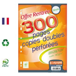 Copies doubles ligne 7000 A4 seyes 300p 90g Calligraphe CLAIREFONTAINE