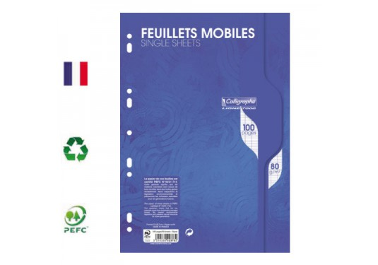 Feuillets mobiles ligne 7000 A4 seyes 100p 80g Calligraphe CLAIREFONTAINE