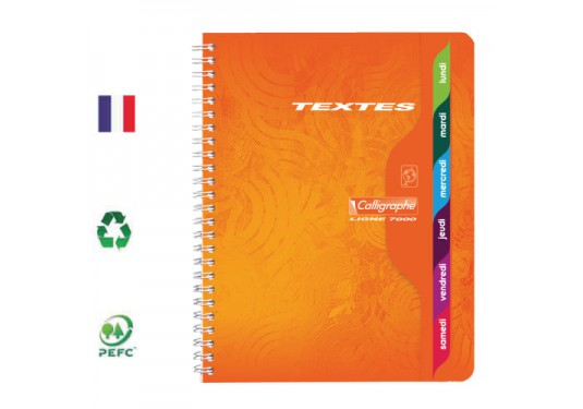 Cahier de texte A5+ spirales seyes 148 pages CLAIREFONTAINE