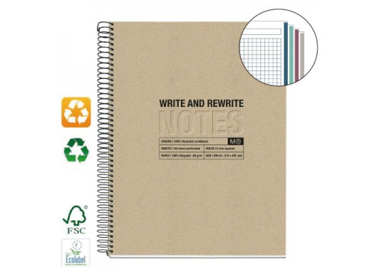 Cahier A4 couverture recyclée Write and Rewrite MIQUELRIUS