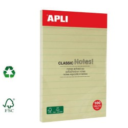 Bloc-notes repositionnables grand format jaune ligné 100x150mm APLI AGIPA
