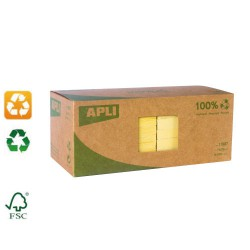 Lot de 12 blocs de notes repositionnables papier recyclé 75x75mm APLI AGIPA
