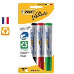 Lot de 4 feutres marker Whiteboard VELLEDA assortis BIC