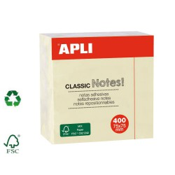 Bloc de 400 feuilles de notes repositionnables jaunes 75x75mm APLI AGIPA